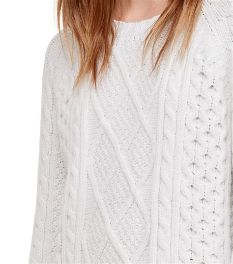 burch sweater lyst burch cable knit crewneck sweater in white