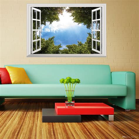 Living Room Background Images by Green Tree Blue Sky 3d Wall Poster Living Room Bedroom