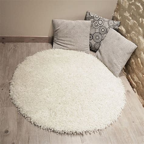 Tapis Shaggy Blanc Rond by Tapis Rond Softy Shaggy Blanc 216 95 Cm Decoweb Com