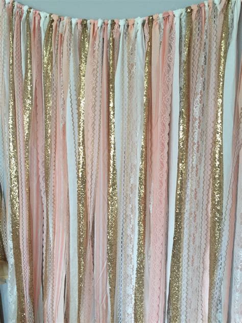 fabric for curtains pink gold sparkle sequin fabric backdrop with lace