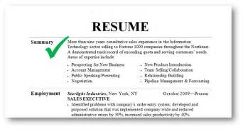 Exle Of Professional Overview For Resume by Resume Summary Exles Obfuscata