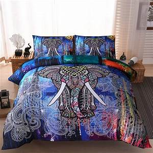 3pcs, Lot, Elephant, Printed, Queen, Comforter, Sets, Bedding