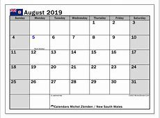 Calendar August 2019, New South Wales