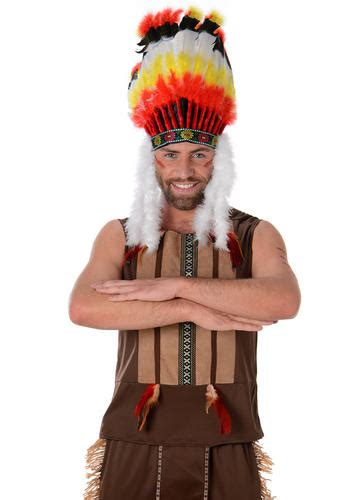 indian chief headdress mens western fancy dress  ymca adults costume outfit ebay