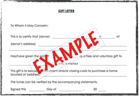 accepting  gift    payment   home purchase