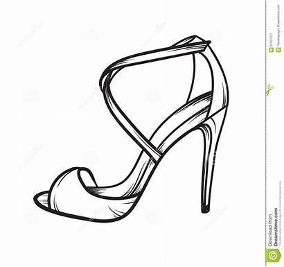 Shoes Heels Drawn Elegant Summer Woman Hand
