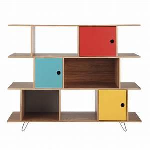 Bibliotheque Bois Clair : biblioth que en bois multicolore l 145 cm happy maisons du monde ~ Teatrodelosmanantiales.com Idées de Décoration