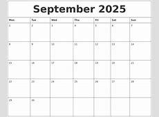 September 2025 Print Out Calendar