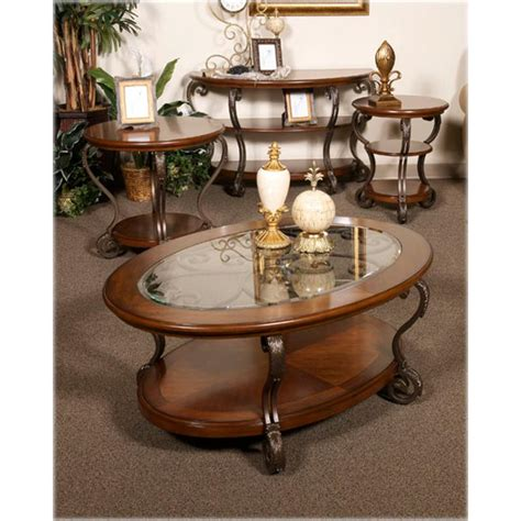 ashley furniture round table t517 6 ashley furniture nestor medium brown round end table