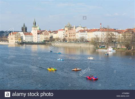 Paddle Boats Prague by Tourists In Pedal Boats In Vltava River Prague
