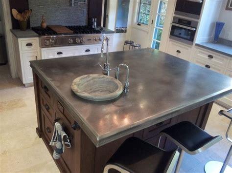 zinc kitchen island zinc countertop on kitchen island photo source www 1241