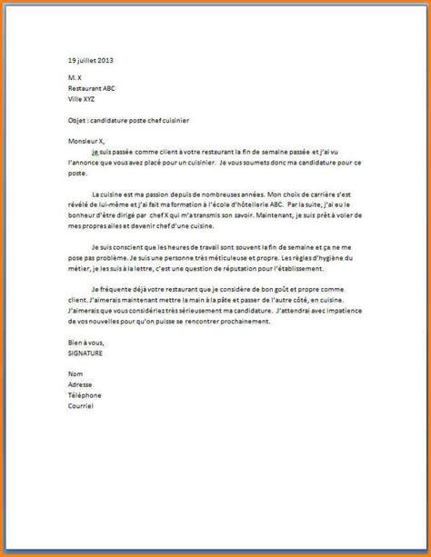 lettre pour cuisine 5 exemple lettre de motivation cuisinier format lettre