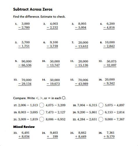 11 sle subtraction across zeros worksheets sle
