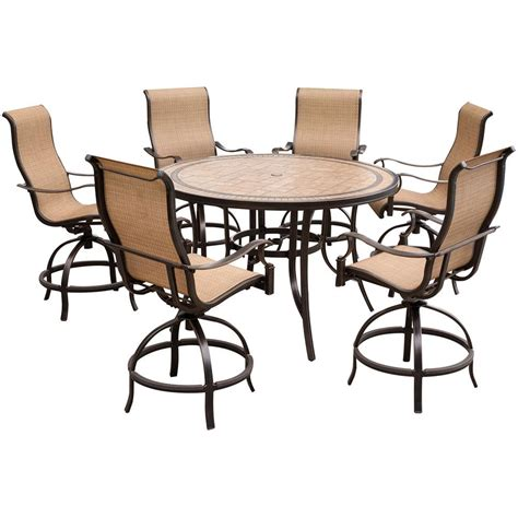 7 piece pub table set hanover monaco 7 piece outdoor bar h8 dining set with