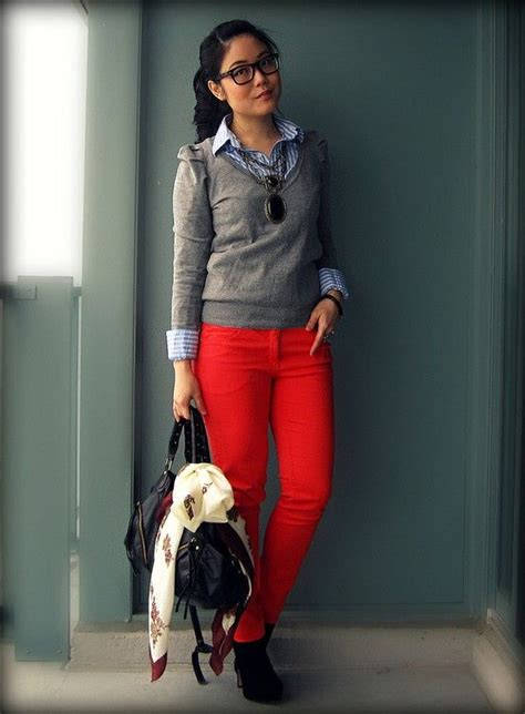17 Best ideas about Red Pants Outfit on Pinterest | Red pants Red jeans outfit and Leopard ...