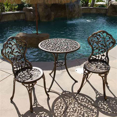 3pc bistro set patio table chairs ivory furniture balcony