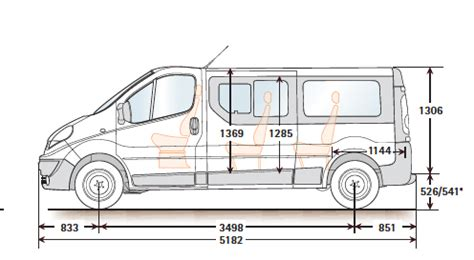 renault trafic dimensions minibus dimensions seating layouts common uk specific