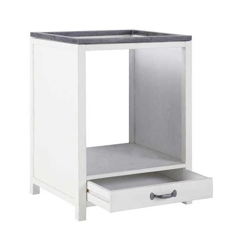 meuble bas de cuisine pour four en bois recyclé blanc l 64 cm ostende maisons du monde