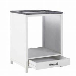 Meuble Pour Four : meuble bas de cuisine pour four en bois recycl blanc l 64 cm ostende maisons du monde ~ Teatrodelosmanantiales.com Idées de Décoration