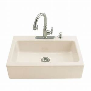 kohler dickinson undermount farmhouse apron front cast With apron front sink with faucet holes