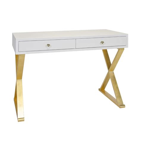 white desk with gold legs worlds away jared white lacquer desk on gold leafed base