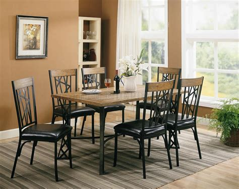 black metal brown wood modern 5pc dining set