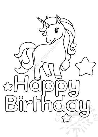 printable unicorn happy birthday coloring page