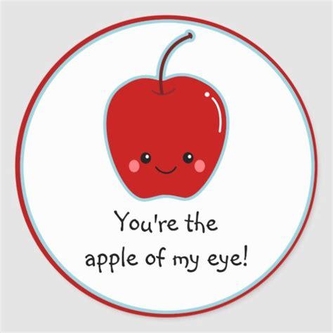 cute apple   eye cartoon classic  sticker zazzlecom