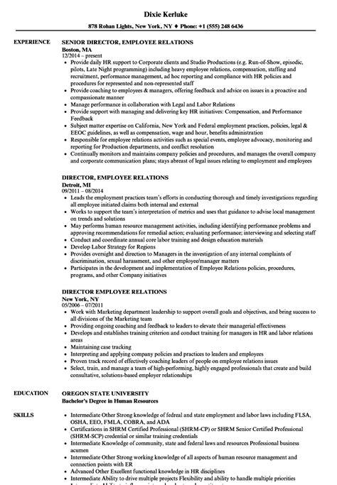 Employee Relations Resume by Director Employee Relations Resume Sles Velvet