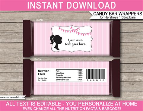 Barbie Hershey Candy Bar Wrappers  Personalized Candy Bars. Daily Chore Chart Template. Save The Date Email Template Free. The Graduate Watch Online. Jewelry For Nurse Graduate. Rustic Save The Date Cards. Mailing Address Label Template. Meal Plan Template Word. Fascinating Simple Resume Template Word