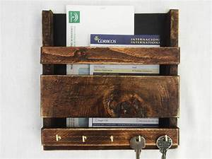 rustic wooden wall hanging mail holder and key rack With letter rack and key holder