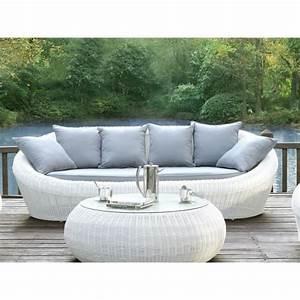 Canapé 3 places de jardin WHITEHEAVEN en résine tressée