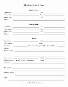 printable physician referral form With doctor referral form template