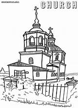 Church Coloring Pages Orthodox Building Colorings sketch template