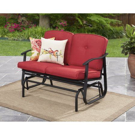 Loveseat Glider Outdoor by Mainstays Belden Park Outdoor Loveseat Glider With Cushion