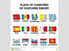 Flags Of Southern Europe Countries From Brush Strokes