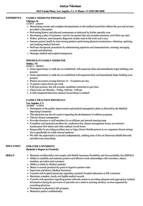 Sle Physician Resume by Family Physician Resume Sles Velvet