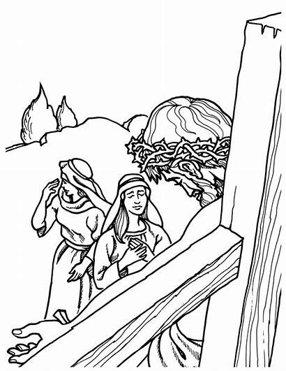 Jesus Coloring Pages Bible Cross Easter Story