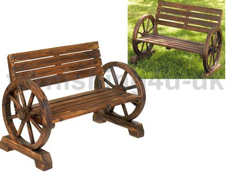 new garden furniture wooden cartwheel bench seat burnt