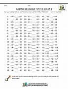 Decimal Worksheets Adding Decimals Tenths 3 Worksheet Multiplication And Division Worksheets Digitalcrate Net Adding Decimal Tenths With 1 Digit Before The Decimal Range 1 1 To 9 Tenths And Hundredths Worksheets Activity Shelter