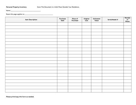 format of inventory personal and checklist template sample