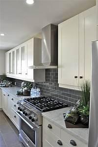 Gray subway tile backsplash for the kitchen white for Dark gray kitchen backsplash