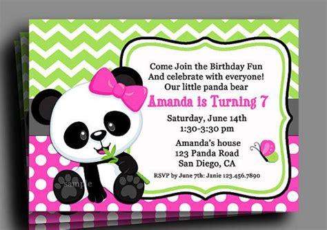 panda invitation printable  printed   shipping