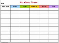 May 2018 Weekly Calendar Planner Templates