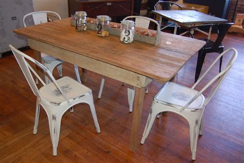 farm table with metal chairs yellow chair market farm table metal chairs