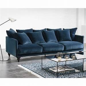 canape convertible velours bleu maison et mobilier d With canapé convertible velours