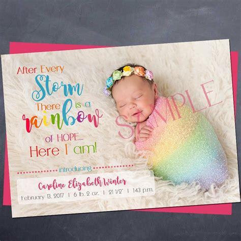 printable rainbow baby birth announcement