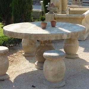 Salon De Jardin En Pierre : table de jardin de forme ronde en pierre mobilier artisanal ae ~ Teatrodelosmanantiales.com Idées de Décoration