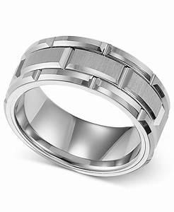 Triton 8mm White Tungsten Wedding Band In White For Men Lyst