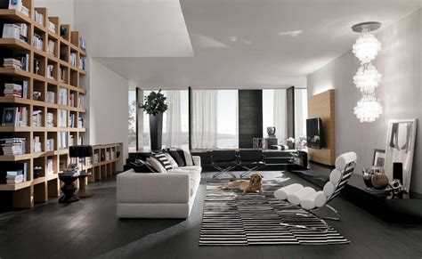 Bookshelves As Room Focus by Stylish Large Living Room Interior Designs Location